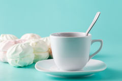 Delicate colored marshmallows for breakfas Royalty Free Stock Photography