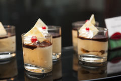 Delicate cream with chocolate and red currant Royalty Free Stock Image