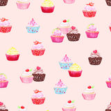 Delicate cupcakes watercolor seamless vector print Royalty Free Stock Images