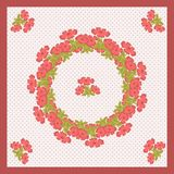 Delicate cute scarf pattern colors in trendy coral color on beige background in black polka dots stock illustration