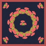 Delicate cute scarf pattern colors in trendy coral color on navy background in white polka dots vector illustration