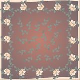Delicate cute scarf pattern with flowers in trendy colors on brown background.Floral print for scarf,textile,covers,surface, stock illustration