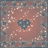 Delicate cute scarf pattern with flowers in trendy colors on brown background.Floral print for scarf,textile,covers,surface, royalty free illustration