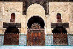 Delicate decoration at the courtyard of bou inania madrasa Royalty Free Stock Images