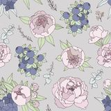 Delicate decorative background with peonies and berries Stock Photography