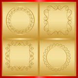 Delicate decorative frames in gold Stock Photo