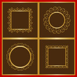 Delicate decorative frames in gold Stock Image