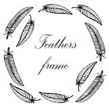 Delicate decorative hand-painted frame with  feathers  illustration Stock Photography