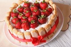 Delicate dessert strawberry cake closeup on the table. horizonta Royalty Free Stock Image