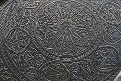 Delicate detail of a Ottoman style tray. Delicate floral detail of a Ottoman style tray Stock Images