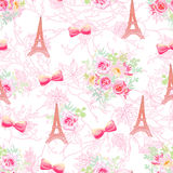 Delicate Eiffel towers and bouquets seamless vector print Royalty Free Stock Image