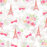 Delicate Eiffel towers and bouquets seamless vector print Stock Photo