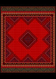 Delicate ethnicl  pattern of the carpet in red shades Royalty Free Stock Photography