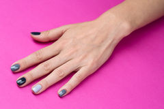Delicate female hand with a stylish neutral Stock Photo
