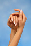 Delicate female hands Royalty Free Stock Photography