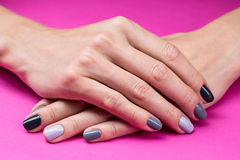 Delicate female hands with a stylish neutral Stock Photography