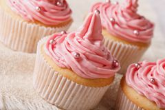 Delicate festive cupcakes with pink cream close-up, horizontal Stock Photography