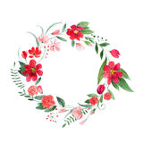 Delicate floral coronet made of pink and red flowers and leaves hand-drawn with watercolor.  Royalty Free Stock Image
