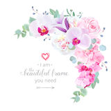 Delicate floral crescent shaped vector frame. With white peony,orchid, pink rose, violet bellflower, hydrangea, eucalyptus. Wedding stylish bouquet.Template Royalty Free Stock Photo