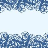 Delicate floral frame. Vector blue vintage Stock Images