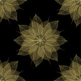 Seamless floral pattern leaf texture. Elegant and grand floral collage pattern using the veins (skeletons) of leaves. Golden on black background. Ready to be stock illustration