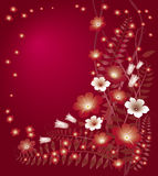Delicate floral red background. Delicate bright floral red background stock illustration