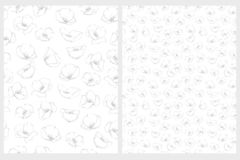 Delicate Floral Repeatable Vector Patterns. Gray and White Design. vector illustration