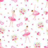 Delicate floral seamless vector pattern with ballet dancers Royalty Free Stock Photos