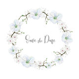 Delicate floral wreath with white flowers. Watercolor Royalty Free Stock Photo