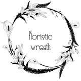 Delicate Floristic Wreath. Flower Design Frame Element stock illustration