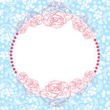 Delicate flower border. Delicate vector seamless flower frame with text Royalty Free Stock Image
