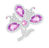 Delicate flower gemstones brooch Royalty Free Stock Photos