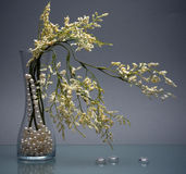 Delicate flowers and chaplet in glass vase on gray Stock Photography