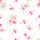 Delicate flowers and old keys with bows seamless vector pattern. Dotted pink on white backdrop Royalty Free Stock Photo