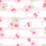 Delicate flowers and old keys with bows seamless vector pattern Stock Image