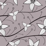 Delicate flowers seamless background of the lines. Vector Stock Photo