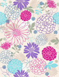 Delicate Flowers Seamless Repeat Pattern. Delicate Retro Flowers Seamless Repeat Pattern Vector Illustration Background Royalty Free Stock Images