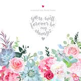 Delicate flowers and succulents vector design card. royalty free illustration