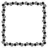 Delicate frame with black peony flowers Royalty Free Stock Photos