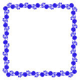 Delicate frame with blue peony flowers isolated on Stock Photo
