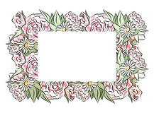 Delicate frame of hand drawn roses and chamomiles with a place under the text. stock illustration