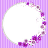 Delicate frame with mallow flowers and pearls Royalty Free Stock Photos