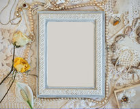 Delicate frame with women's jewelry Stock Photography