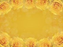 Frame of yellow roses. Delicate frame of yellow roses on a yellow background Stock Photos