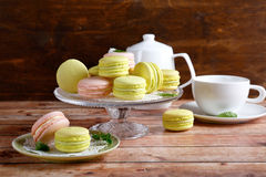 Delicate French Macaroon For Tea Stock Photos