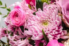 Delicate fresh bouquet of fresh flowers with a pink aster. Stock Photo