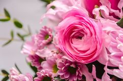 Delicate fresh bouquet of fresh flowers with pink Ranunculus. Background for birthday gifts Royalty Free Stock Photos