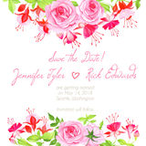 Delicate fuchsia, roses floral design frame vector element. Delicate fuchsia and roses floral design frame vector element Royalty Free Stock Images