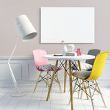 Delicate girlish interior, consisting of a dining area and a flo. Or lamp. Poster mockup. 3d illustration stock illustration