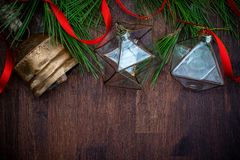 Delicate glass Christmas decorations stock photos